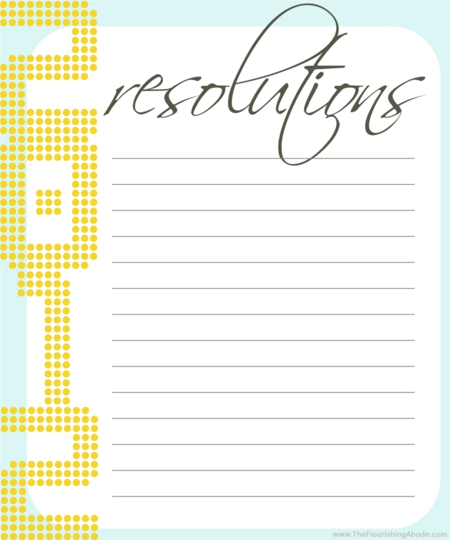 Free Resolutions Printable - TheFlourishingAbode.com
